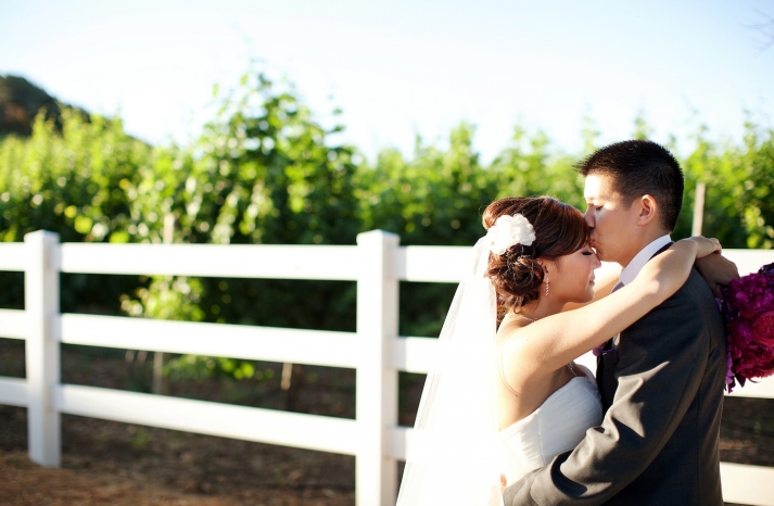 bride groom kiss at malibu california wedding