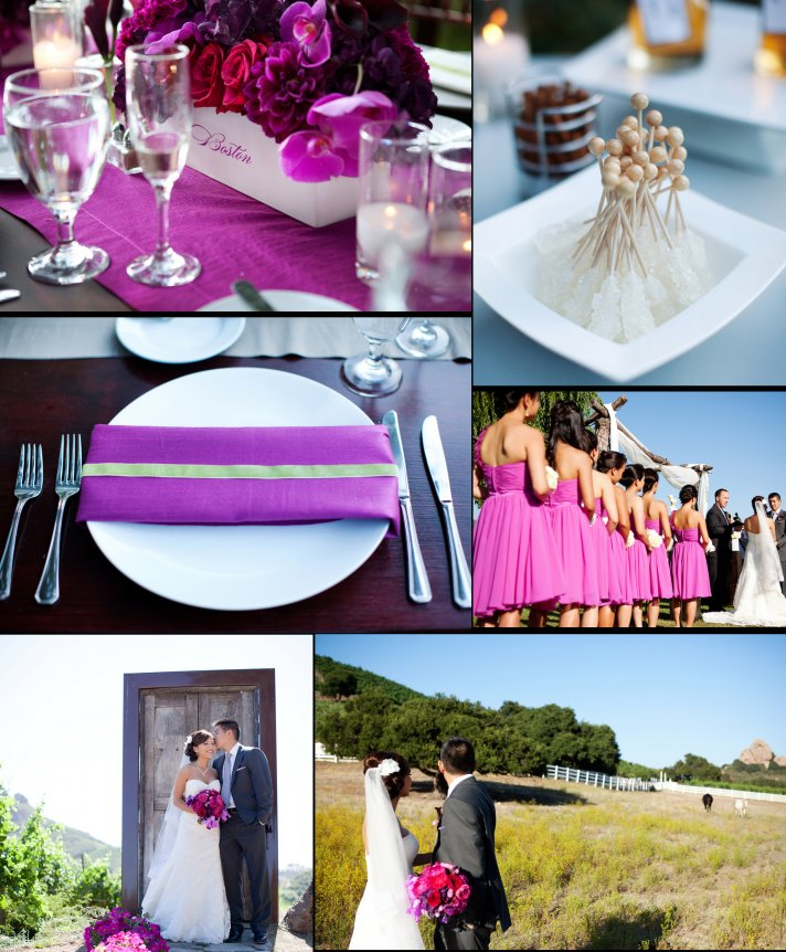 elegant winery wedding in malibu pink wedding flowers 2