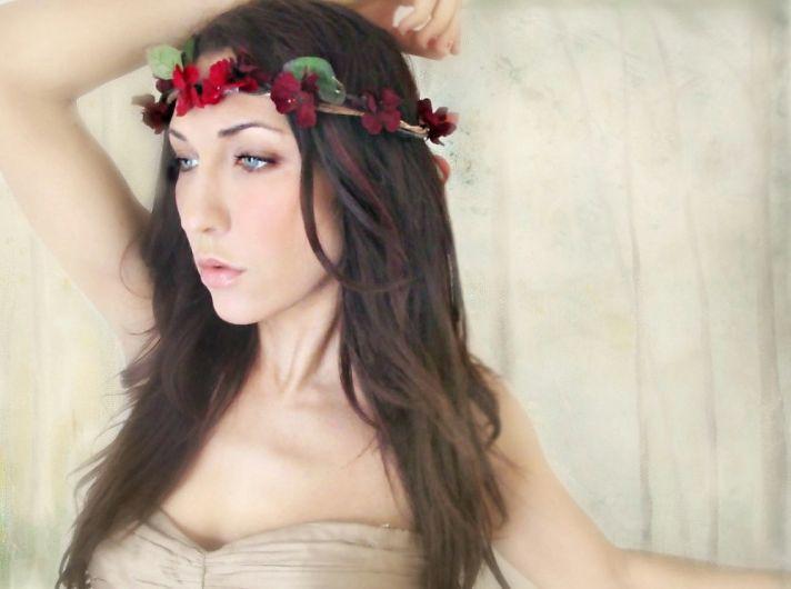 bohemian bride deep red floral crown