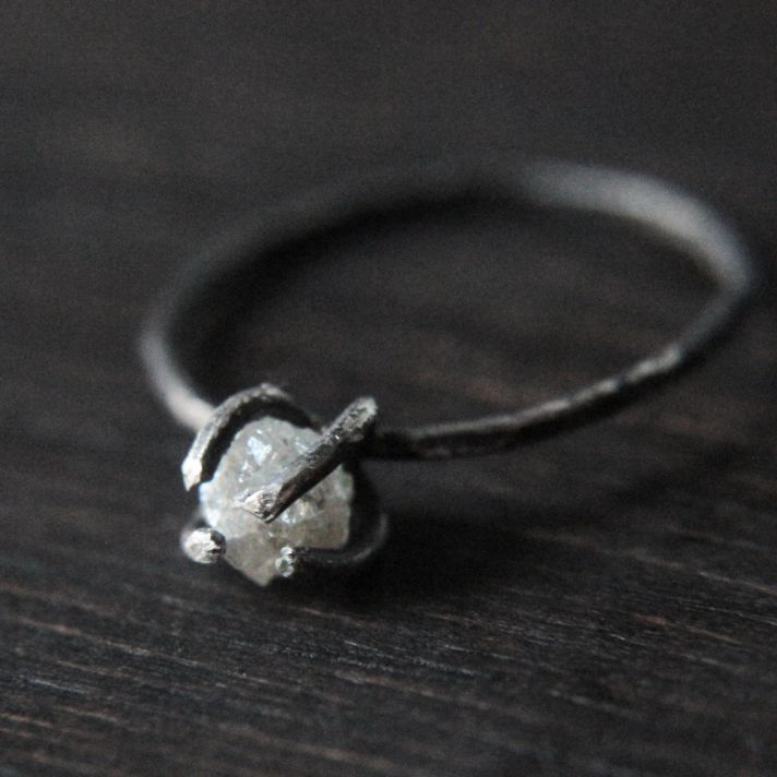 rough diamond engagement ring two stone