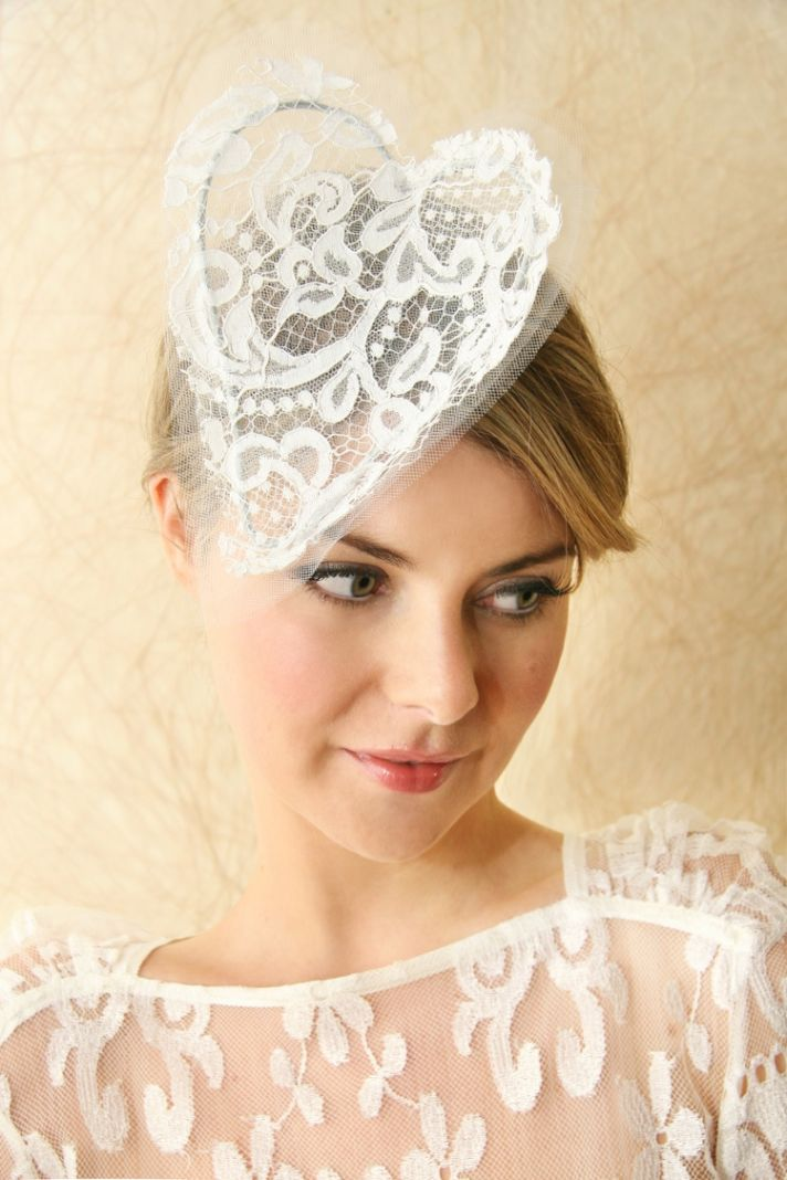 bridal veils hair accessories by Suzy Orourke lace heart headband