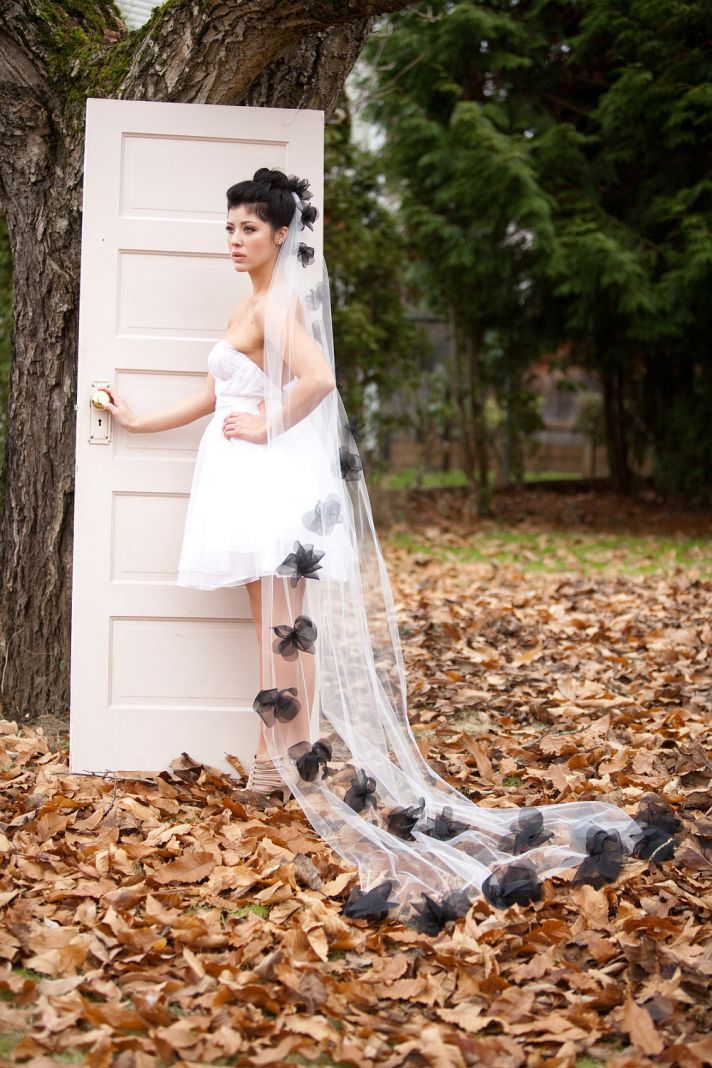 long bridal veil tulle with black flowers