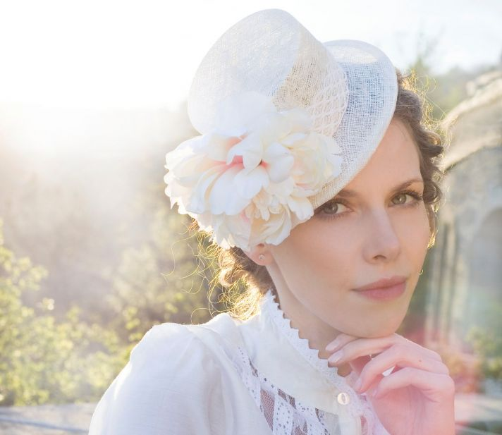 romantic bridal hat for spring summer weddings