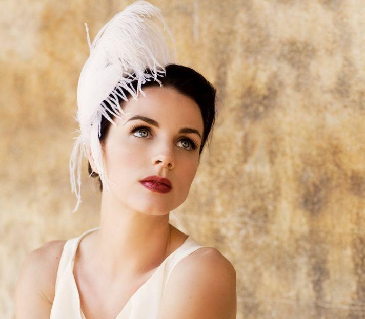 vintage bride feather facinator