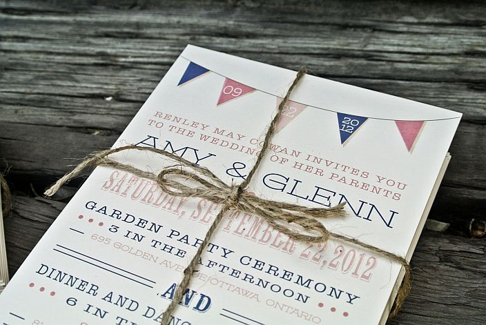 Rustic Modern Banner Wedding Invitation