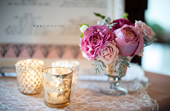 wedding photography detail shots romantic centerpiece pink with lace linen