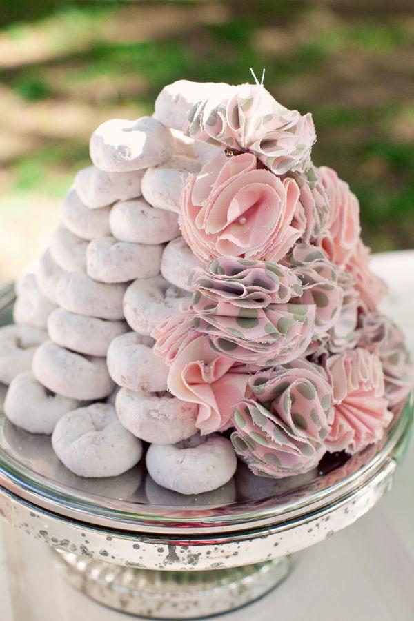 powder sugar donut wedding cake