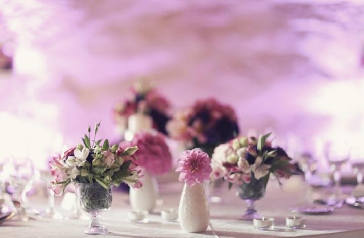 pink purple wedding centerpiece elegant european wedding 2