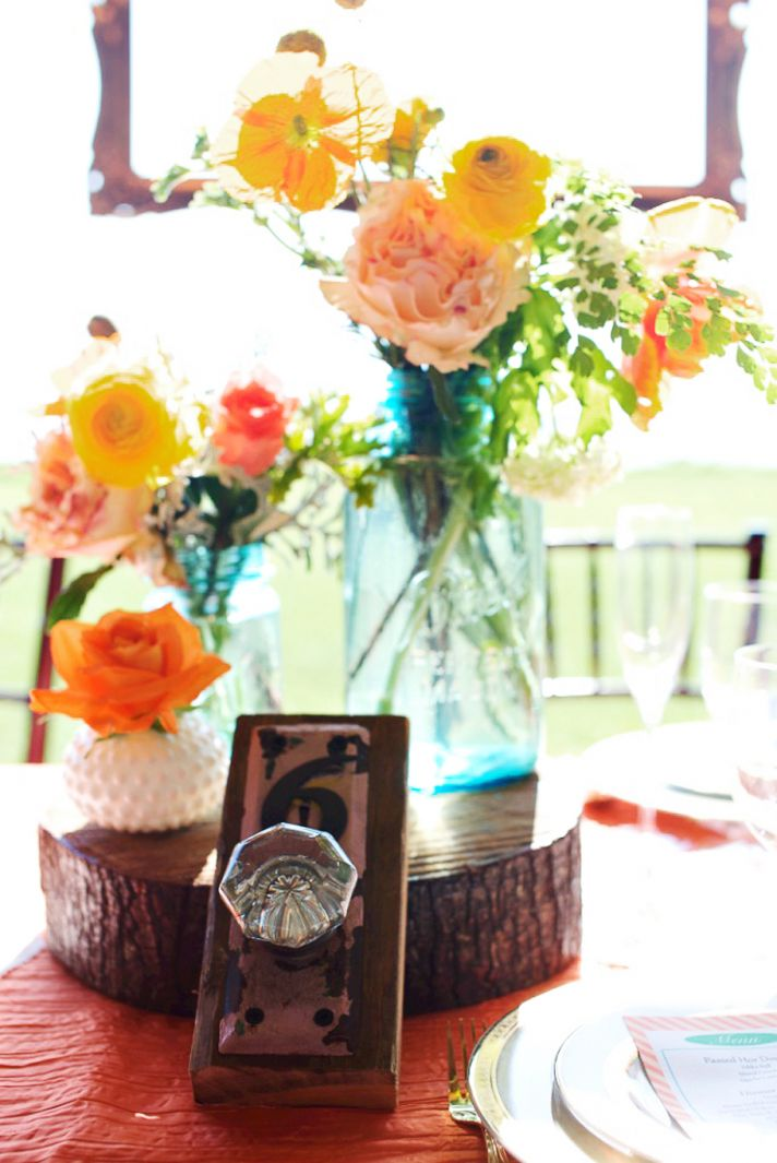 rustic citrus wedding inspiration outdoor spring wedding ideas mason jar centerpieces