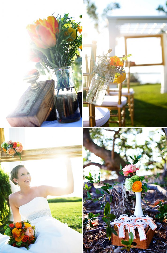 rustic citrus wedding inspiration outdoor wedding mason jar centerpieces