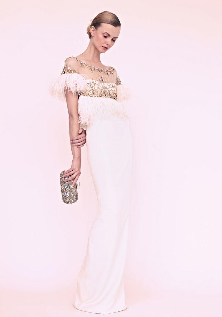 marchesa wedding dress vintage romantic beading feathers