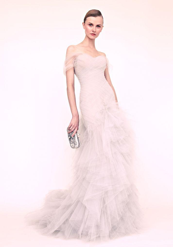marchesa wedding dress romantic tulle
