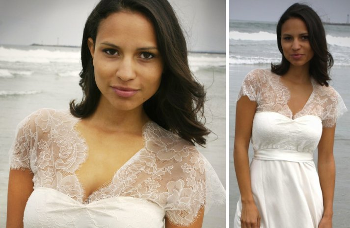 romantic wedding ideas barely there sheer bridal gown beach wedding