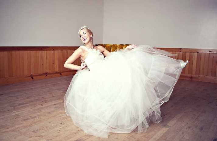 one shoulder tulle wedding dress fairytale bride
