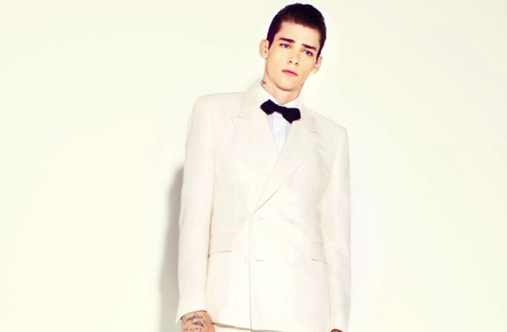marc jacobs grooms wedding suit ivory black bow tie
