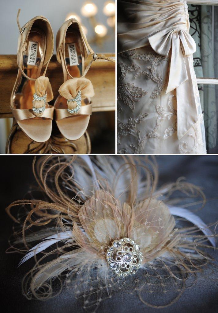 elegant real wedding bridal heels fascinator wedding hair accessories ivory bridal gown 2