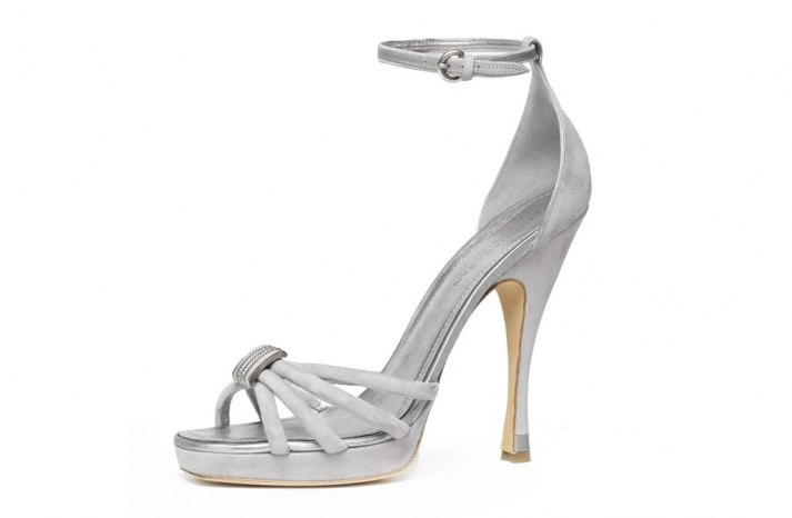 donna karan silver wedding shoes