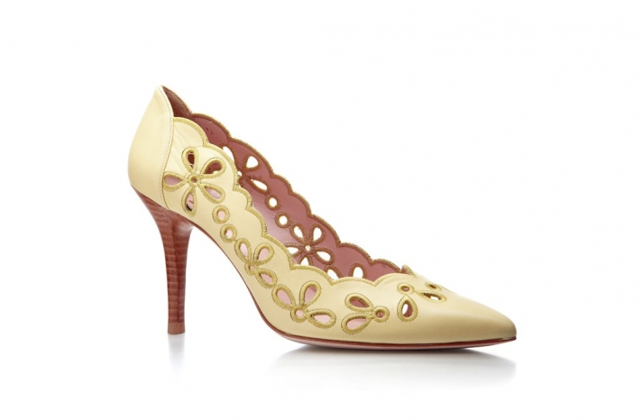 butter yellow wedding shoes lace cutout