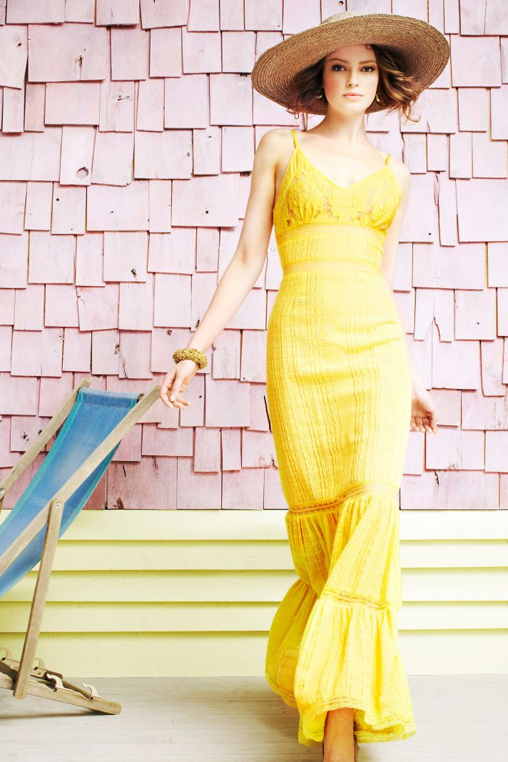 bright yellow bridesmaid dress long summer weddings