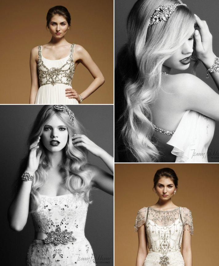 vintage wedding style trends Jenny Packham wedding dress accessories