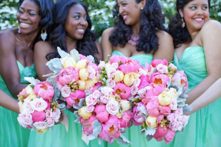 aqua bridesmaid dresses romantic bouquets pink ivory peonies