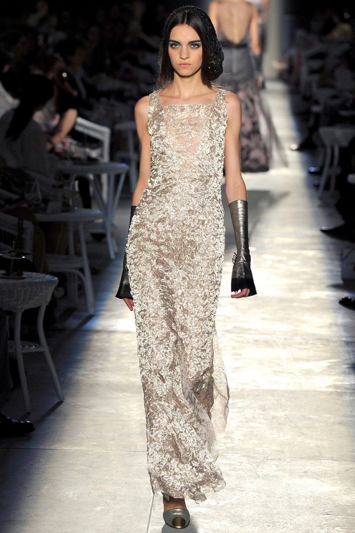 runway to white aisle wedding dress bridesmaid dress inspiration Chanel gold sheath