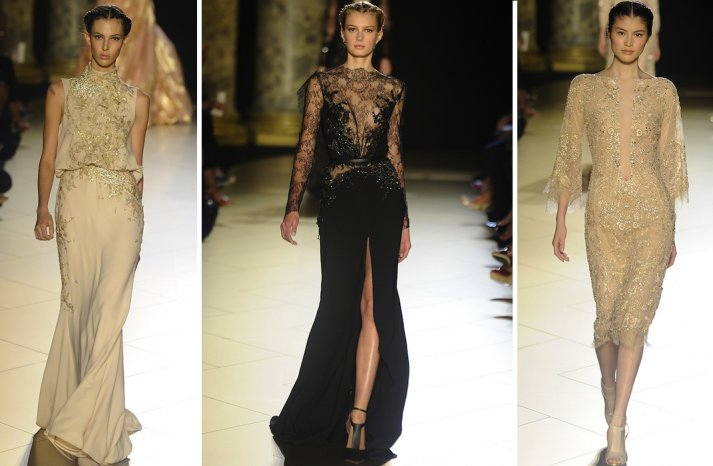 runway to white aisle wedding dress inspiration elie saab couture fall 2012 beige black lace