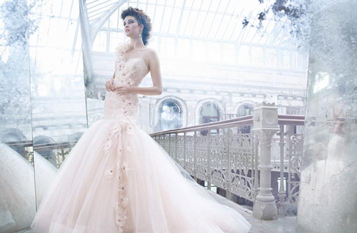 fall 2012 wedding dress Lazaro bridal gowns non white peach