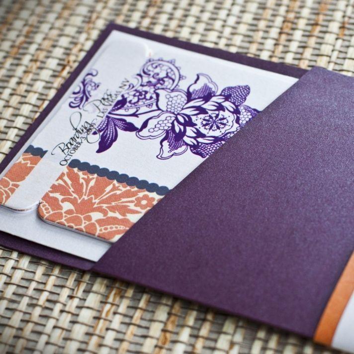 elegant wedding invitations orange purple