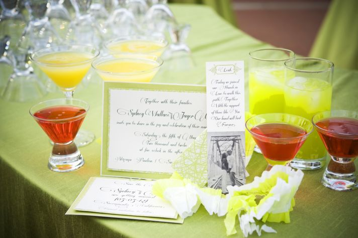 elegant garden wedding bright signature drinks