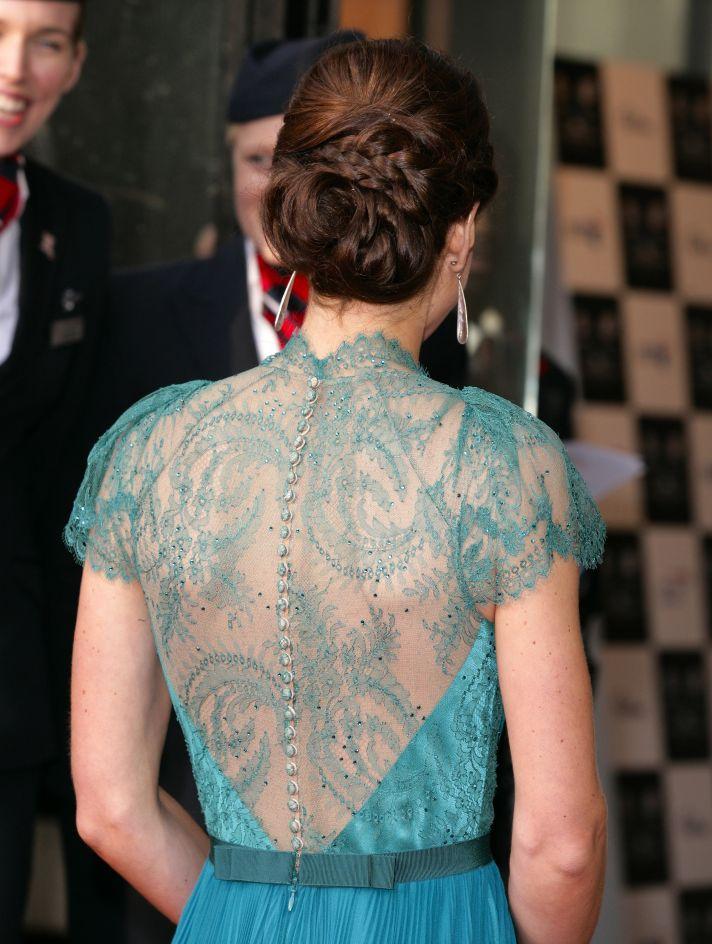 kate middleton wears Elie Saab lace covered back