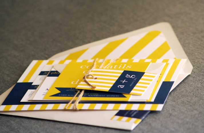 wedding color inspiration navy blue ceremony reception finds yellow white nautical invitation