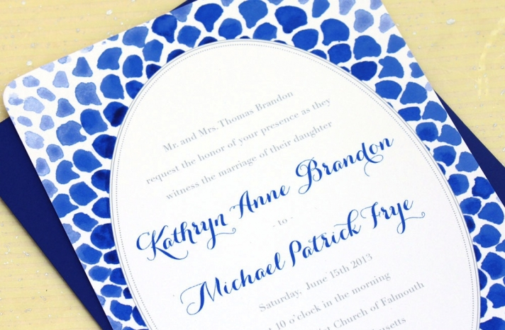 wedding color inspiration navy blue bridal wedding finds watercolor mosaic invitation