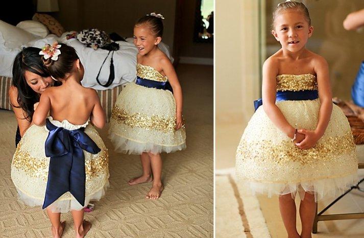 navy blue gold flower girl dress