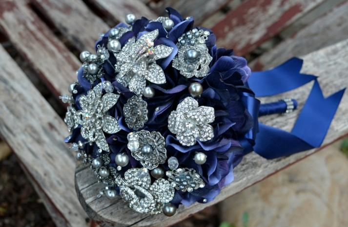 navy silver brooch bouquet