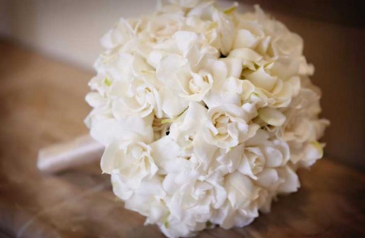 white gardenia bridal bouquet