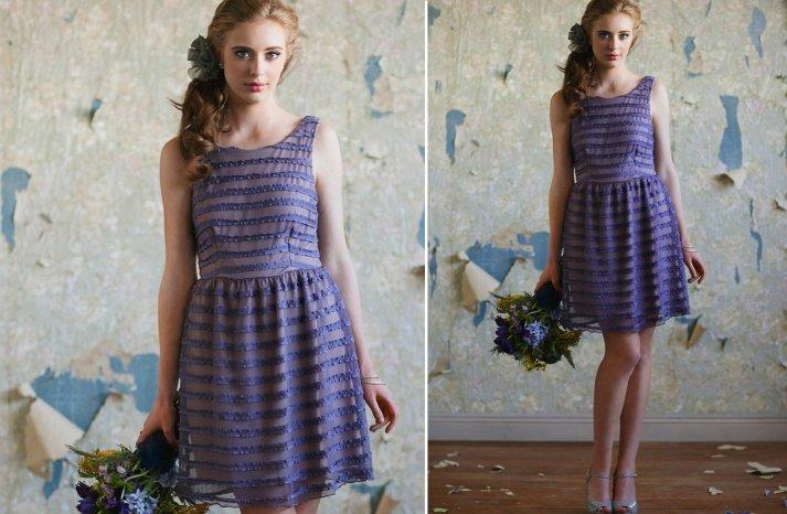 Ruche bridesmaids dresses stylish bridal party attire pretty purple