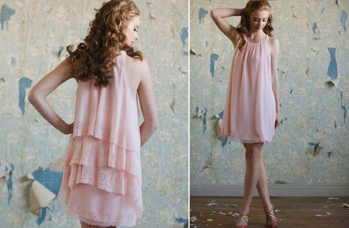 Ruche bridesmaids dresses stylish bridal party attire petal pink