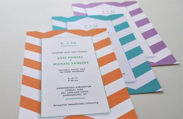 chevron wedding invitations white orange teal lilac