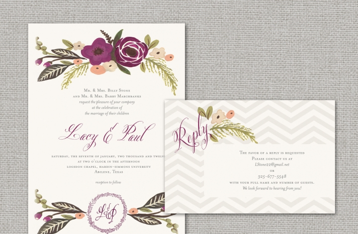 elegant wedding invitations with florals chevron