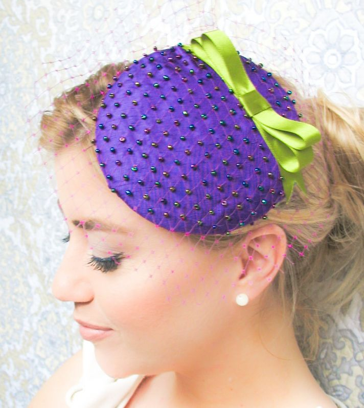 purple green wedding hat for bridesmaids