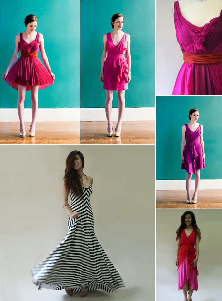 colorful bridesmaids dresses by carol hannah pink red fuschia