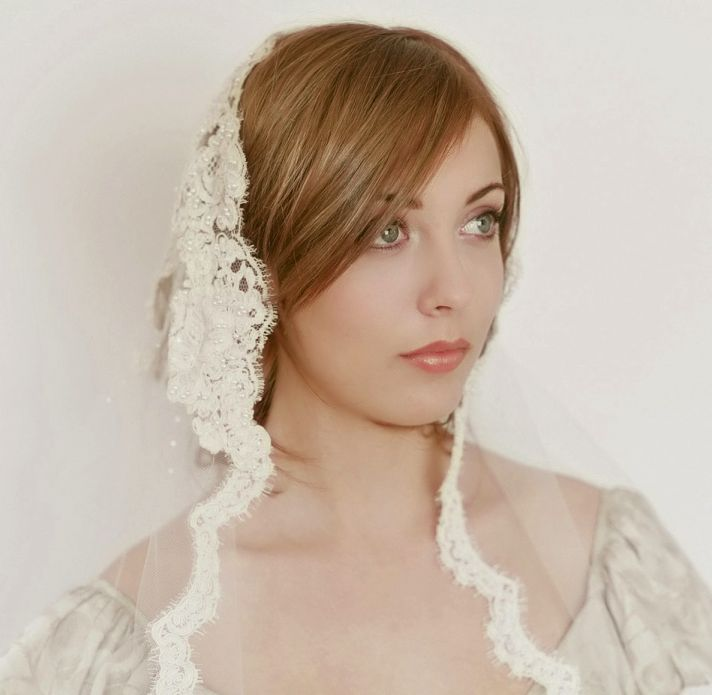 romantic wedding accessories bridal head chic Mantilla veils 5
