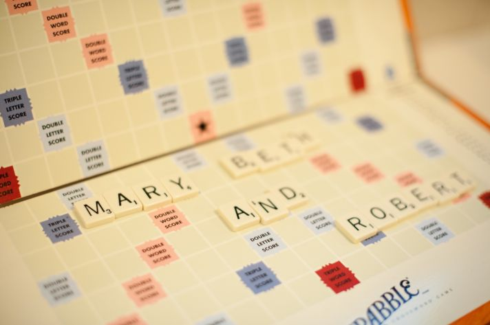 Scrabble themed wedding in Virginia classic bridal style reception fun