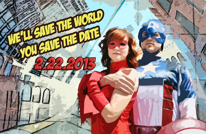 funny wedding invitations superhero save the date