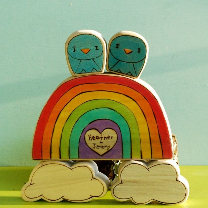 rainbow wedding inspiration cute cake topper