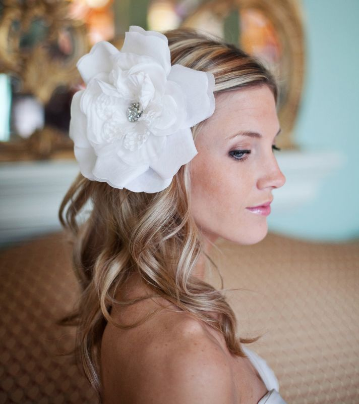 10 gorgeous bridal veils wedding hair accessories Bethany Lorelle oversize hair flower