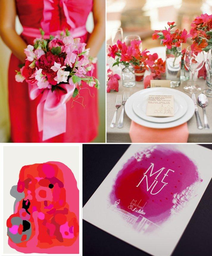 pretty pink wedding inspiration monochromatic color palettes