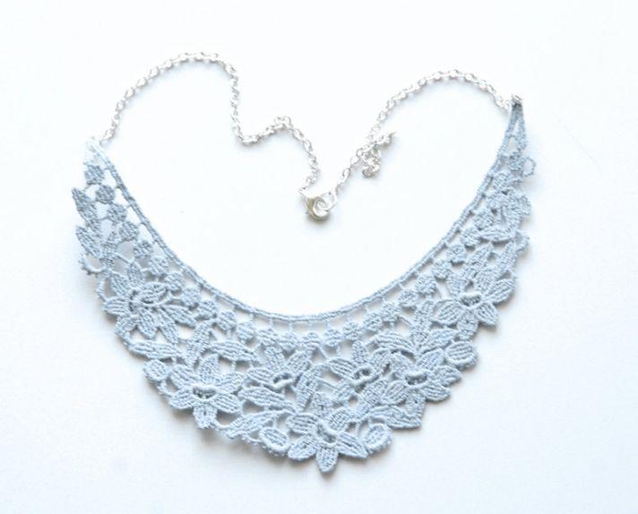 something blue wedding inspiration bridal style spotting lace necklace