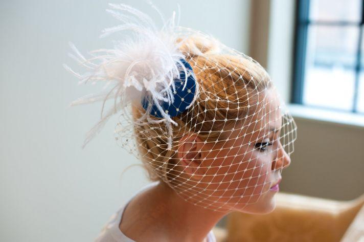 something blue wedding inspiration bridal style spotting fascinator with blusher
